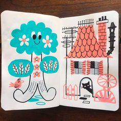 台風一過。三連休の最後は敬老の日でしたね。 無事晴れてよかったです。 本日のMoleskine手帳はちょっと絵本な感じ。