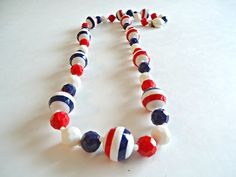 Vintage Red White and Blue Beaded Necklace 1970's by TreasureCoveAlly on Etsy