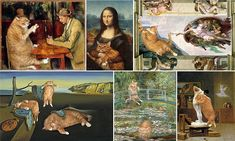 They are classic works of art that have stood the test of centuries... but for Svetlana Petrova there was just one thing missing from these masterpieces: her large ginger tabby Zarathustra.