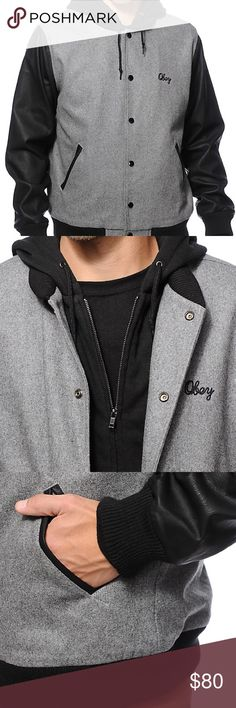 Men's Obey Soto Varsity Jacket Snap button grey wool Obey jacket - Adjustable drawstring knit hood - Ribbed knit hem, collar, and sleeve cuffs - Two front hand pockets  - Soft fleece lining - 70% polyester, 30% wool Obey Jackets & Coats Bomber & Varsity