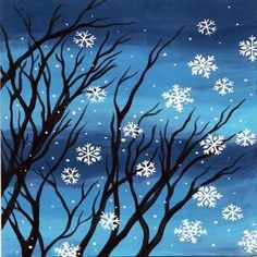 Painting Snow, Easy Canvas Painting, Winter Painting, Easy Paintings, Diy Painting, Canvas Art, Canvas Paintings, Christmas Canvas, Christmas Paintings