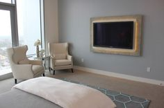 wall mounted tv console | another simple and elegant way of making the tv stand out is to use ...