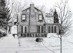 Commission a house portrait from your photo direct from artist Hanne Lore Koehler. Price list online.