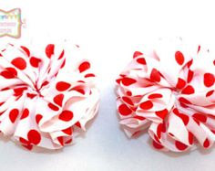 Red and white hair flowers