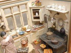 "antique dollhouse   Antique German Dollhouse ""Gudrun's Kitchen"" C 1912  "