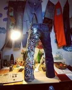 斑点模様のジーンズ 立体的にして立たせてみた😊 *