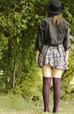 black denim jacket + floral print dress + bowler hat +  dark purple thigh high socks