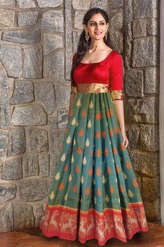 Old sarees convert into long gown Salwar Designs, Kurti Designs Party Wear, Long Gown Dress, Lehnga Dress, The Dress, Long Dress Design, Dress Neck Designs, Indian Gowns Dresses, Evening Dresses