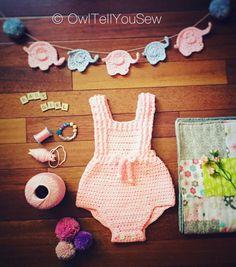 Crochet Pink Romper- Elephant Theme - Crochet Baby Outfit