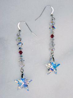 Swarovski AB star earrings, swarovski earrings, sterling earring, silver star earrings, magenta earrings, sparkly earrings, crystal earrings - pinned by pin4etsy.com