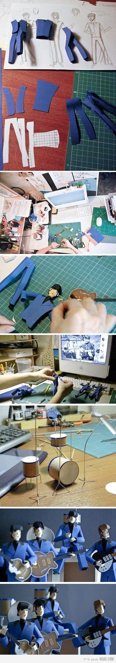 glimpse the process karinaszucs uses to make paper art Beatles . . . now that's a Hard Day's Night . . .