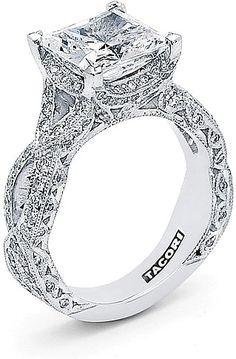 Tacori RoyalT Twist Princess Cut Diamond Engagement Ring HT2606PR MY FAVORITE!!!