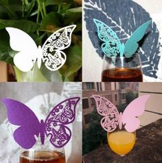 50pcs Butterfly Place Escort Wine Glass Cup Paper Card Party Home Decor HGFP016 #Unbranded