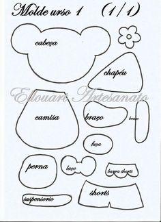 Eu Amo Artesanato: Ursinhos em eva com moldes Puppet Patterns, General Crafts, Paper Piecing, Felt Crafts, Gift Bags, Puppets, Activities For Kids, Hello Kitty, Clip Art