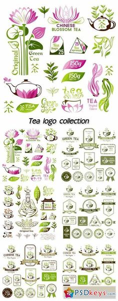Tea logo collection, chinese green tea emblems