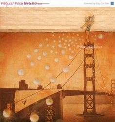 HOLIDAY GIFT SALE 20 All That Glitters - Mixed media original - Unique Gift - San Francisco, Faeries, Fairies, bridges, Golden Gate - one of