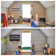 Cutting Edge Stencils shares a DIY stenciled playroom accent wall using the Sweet Dreams Stencil. Top Interior Designers, Decor Interior Design, Furniture Design, Interior Decorating, Stencil Decor, Stencils, Living Room Playroom, Cool Walls, Girl Room