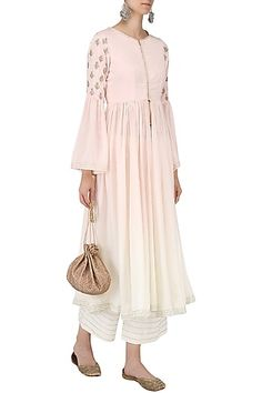 Priyanka Jain presents Pink and white ombre anarkali with palazzo pants set available only at Pernia's Pop Up Shop. Indian Attire, Indian Outfits, Indian Wear, Palazzo Pants Indian, Diwali Outfits, Embroidered Kurti, Designer Bridal Lehenga, Desi Wear, Indian Gowns Dresses