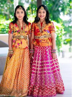 Manchu Vishnu daughters in traditional Pythani Silk Lehengas Girls Party Wear, Kids Dress Wear, Baby Girl Party Dresses, Little Girl Dresses, Kids Wear, Children Wear, Fancy Dress, Kids Gown Design, Girls Frock Design