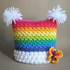 Crochet Hat PATTERN - Over the Rainbow - crochet pattern for rainbow hat, square beanie in 6 sizes ( Crochet Baby Hats, Crochet Beanie, Crochet For Kids, Crochet Hooks, Knit Crochet, Free Crochet, Funny Crochet, Crochet Crafts, Yarn Crafts