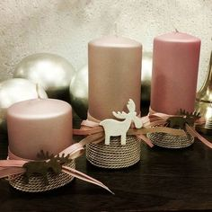 przybranie świec Christmas Candles, Christmas Centerpieces, Christmas Crafts, Christmas Decorations, Xmas, Holiday Decor, Diy Candles, Pillar Candles, Jar Crafts