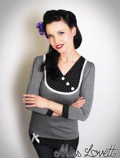 MISS LOVETT - Handmade Rockabilly Clothing - SOPHIE_03 grau/SCHWARZ Polkadot 3/4 Shirt