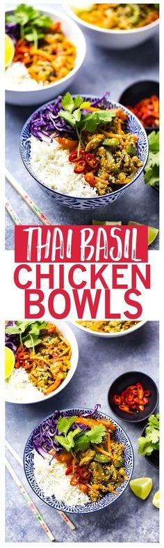 Thai Basil Chicken Bowls with Coconut Rice & Veggies.