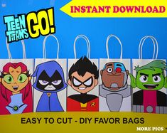 Teen Titans Go Party FAVOR BAGS/ Teen Titans Birthday Party Favors/ DIY Goody/ Goodie/ Loot/ Treat/ Candy/ Gift Bags/ Printable Decoration