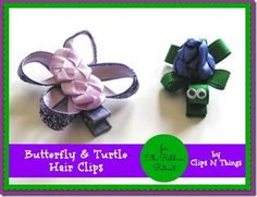 Fabric Bows and More: Butterfly and Turtle Hair Clips by Clips and Thing...