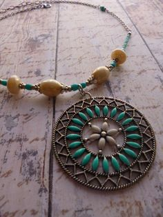 Cream/Sandstone/Verdigris Green Boho Circle Pendant in Silver with Chain