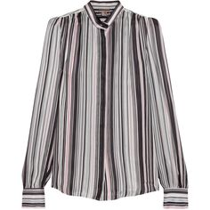 Giambattista Valli Striped silk-georgette blouse (21.651.510 IDR) ❤ liked on Polyvore featuring tops, blouses, black, giambattista valli blouse, striped top, colorful tops, mandarin collar blouse and colorful blouses