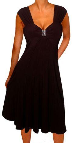 Funfash Plus Size Dress Black Dress Empire Waist Women's Cocktail Dress