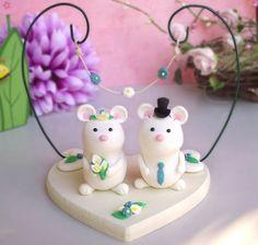 Mice wedding cake topper, wood base, floral arc - cute elegant custom mouse bride groom