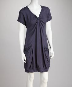 Take a look at this Perry Blue Pocket V-Neck Dress by MONORENO by Mür on #zulily today!