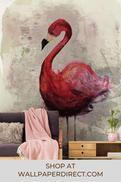 A digitally printed mural designed by Sabrina Ziegenhorn. A soft and painterly flamingo appears vibrantly pink against a contrasting, neutral background. Tapete Pink, Decoration, Rooster, Beige, Wall Art, Animals, Products, Pink, Pictures