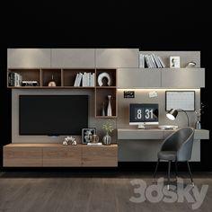 Living Room Wall Units, Living Room Tv Unit Designs, Home Living Room, Bedroom Tv Wall, Wall Tv, Ikea Bedroom, Home Office Layouts, Home Office Design, Tv Unit Interior Design