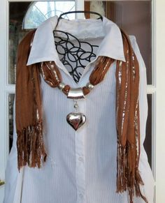 Brown Scarf with Silver Threads and Puff Heart Pendant S1241 | DesignsForAnAngel - Accessories on ArtFire