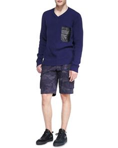 Valentino V-Neck Sweater with Faux Leather Pocket & Camo-Print Cargo Shorts