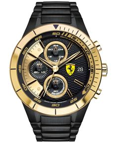 Scuderia Ferrari Men's Chronograph RedRev Evo Black Ion-Plated Stainless Steel Bracelet Watch 46mm 0830303