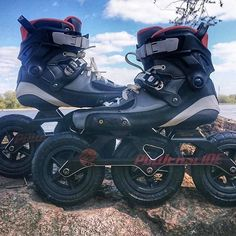 OFF ROAD TAUS?  The Powerslide Tau Skates are mounted to the frames with the TRINITY mounting system. On these setup from @kyrtap_iloverolki , they have the #powerslidekazeSUV 150mm off road frames mounted and they look AMAZING!! #welovetoskate  #powerslideTAU #offroadskating #inlineskates #powerslide