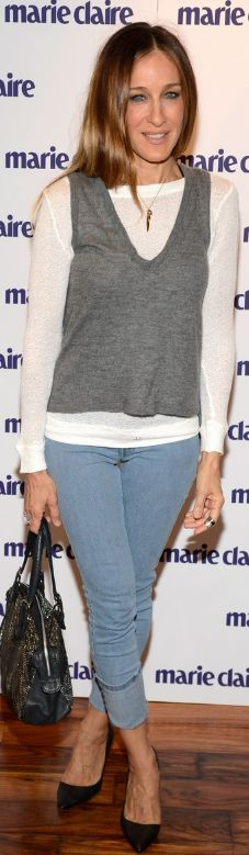 Sarah Jessica Parker: Shirt – Nation  Vest – Mason  Jeans – MIH  Shoes – Alexander McQueen  Jewelry – Fred Leighton