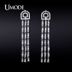 UMODE 2016 New Arrival Crystal Dangle Earrings For Women Boucle D'Oreille Femme Christmas Gifts Fashion Jewelry Aretes AUE0237 //Price: $US $16.28 & FREE Shipping //                                                     UMODE 2016 New Arrival Crystal Dangle Earrings For Women Boucle D'Oreille Femme Christmas Gifts Fashion Jewelry Aretes AUE0237   Brand : UMODE   Item Type : Cubic Zirconia Pave Dangle Earrings   Main Stone : AAA+ 4X2mm 0.15ct emerald cut clear Cubic Zirconia  Other Stone : AAA…