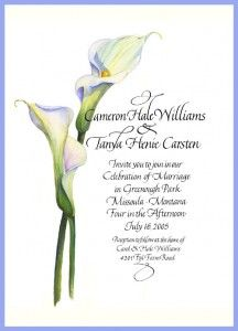 Calla Lily Wedding Invitations For Romantic Wedding