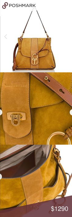 NWT CHLOÉ Lexa Crossbody Bag Crafted of mustard suede, Chloé's Lexa crossbody bag is trimmed with brown smooth calfskin.  Stamped logo at front. Logo-etched closure. Front flap. Two slip front pockets. Slip back pocket. Black lacquered edging. Satin-finished goldtone hardware. Lined with beige cotton twill. Zip pocket and slip pocket at interior. Detachable slender flat leather strap. Adjustable flat leather strap. Peg-and-eye closure. Made in Italy. Chloe Bags Crossbody Bags