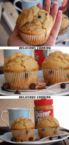 This weekend Breakfast :) Peanut Butter Chocolate Chip Muffins
