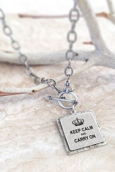Keep Calm & Carry On Silver Plated Pendant | Vintage 1800's crown with the quintessentially British 'Keep Calm and Carry On' quote.