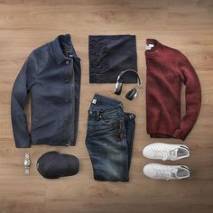 Blue and burgundy #fallnights  Jacket: @toddsnyderny Nylon Deck Jacket Scarf: @nonationality07 Wool/Cashmere Watch: @hamiltonwatch Seaview Automatic Sweater: @topman Glasses: @davidkind Cap: @varsityheadwear  Headphones: @lstnsounds Wireless Shoes: @adidasoriginals Stan Smith Denim: RRL @ralphlauren