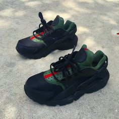 Image of Black Gucci Huaraches