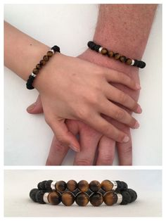 Dad gift, mens lava and tigers eye bracelet with sterling silver, Fathers Day gift from son, boyfriend gift, mens bracelet, Father and son