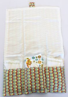 "Changing Pad and Diaper Clutch   17""x24"" with 3 pockets for diaper and wipes  folds to 6""x10"